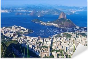 Pixerstick Aufkleber Der Berg Zuckerhut und Botafogo in Rio de Janeirop
