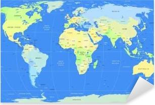 Pixerstick Aufkleber Detaillierte Vektor-politische Weltkartep