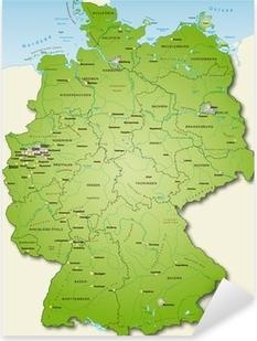 Pixerstick Aufkleber Deutschland Übersichtskarte grün 40cm x 52cm
