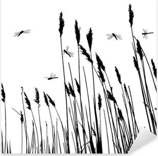 Pixerstick Aufkleber Echte Gras Silhouette und ein paar Libellen - Vektor