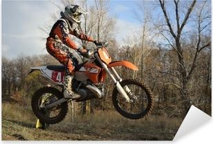 Pixerstick Aufkleber Ein Sprung Fahrer auf einem Motorrad Motocross