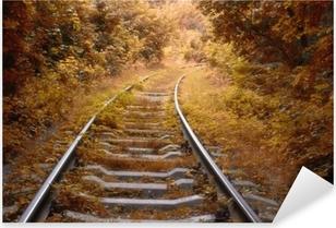 Pixerstick Aufkleber Eisenbahnstrecke im Herbst