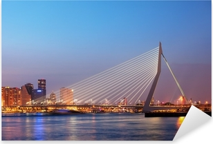 Pixerstick Aufkleber Erasmus-Brücke in Rotterdam in der Dämmerung