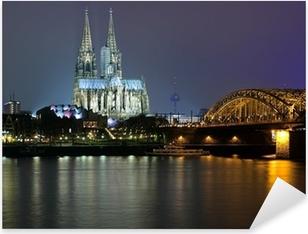 Pixerstick Aufkleber Evening Blick auf den Kölner Dom und die Hohenzollern-Brücke