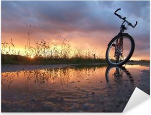Pixerstick Aufkleber Fahrrad in der Pfützep