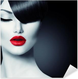 Pixerstick Aufkleber Fashion Glamour Schönheit Mädchen mit trendigen Frisur Fringe