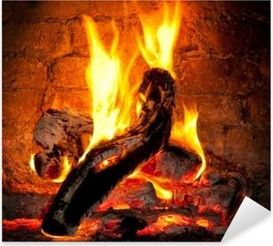 Pixerstick Aufkleber Feuer brennt im Kaminp