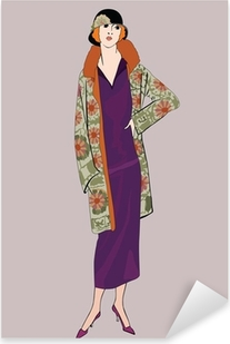 Pixerstick Aufkleber Flapper Mädchen (20er Jahre): Retro Fashion-Partyp