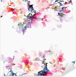 Pixerstick Aufkleber Floral Aquarell Hintergrund. Rosen.