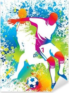 Pixerstick Aufkleber Football-Spieler mit einem Fußballp