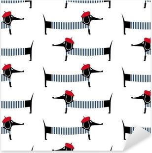 Pixerstick Aufkleber Französisch-Stil Hund nahtlose Muster. Nette Karikatur pariser Dackel Vektor-Illustration. Kind Zeichnung Stil Welpen Hintergrund. Französisch-Stil gekleidet Hund mit rotem Barett und einem gestreiften Kleid.