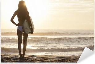 Pixerstick Aufkleber Frau Bikini Surfer Surfboard & Sunset Beach