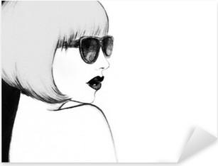 Pixerstick Aufkleber Frau mit Brille. Aquarell-Illustration