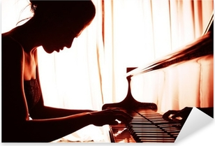 Pixerstick Aufkleber Frau spielt Klavier