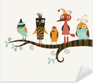 Pixerstick Aufkleber Fünf lustige Vögel