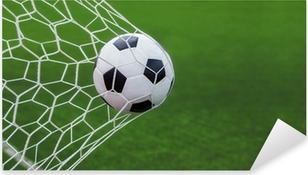 Pixerstick Aufkleber Fußball Ball ins Tor mit grünen backgroungp