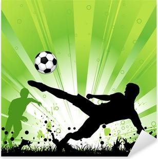 Pixerstick Aufkleber Fußball-Spieler auf Grunge Hintergrundp