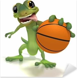 Pixerstick Aufkleber Gecko hält Basketballp