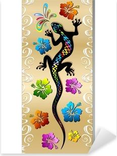 Pixerstick Aufkleber Gecko Reptilien und Hibiscus Tattoo Design Tattoo Gecko-Banner
