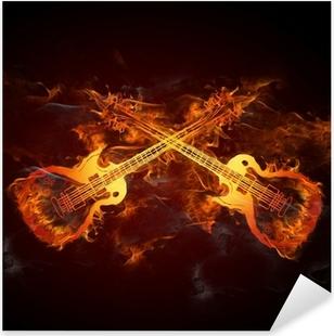 Pixerstick Aufkleber Gitarren Feuer