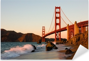 Pixerstick Aufkleber Golden Gate Bridge in San Francisco bei Sonnenuntergangp