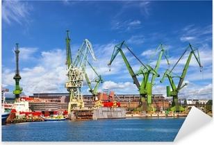 Pixerstick Aufkleber Große Kräne und Dock auf der Werft von Danzig, Polen.