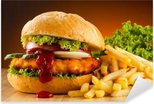 Pixerstick Aufkleber Großen Hamburger, französisch frites und Gemüse