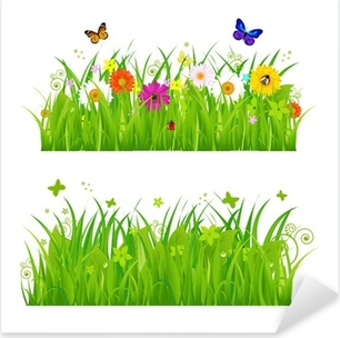 Pixerstick Aufkleber Grünes Gras mit Blumen und Insekten