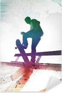 Pixerstick Aufkleber Grungy Skateboarderp