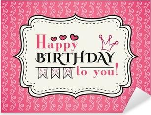Pixerstick Aufkleber Happy birthday card. Typografie Buchstaben Schriftartp