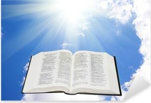 Pixerstick Aufkleber Heilige Bibel in den Himmel erleuchtet von einer Sonnep