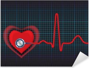 Pixerstick Aufkleber Herz-Symbol und Stethoskop mit normalem EKG Linie