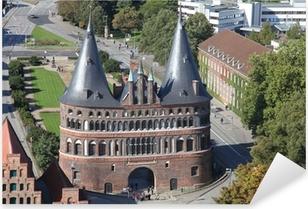 Pixerstick Aufkleber Hostentor zu Lübeck aus der Vogelperspektive