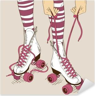 Pixerstick Aufkleber Illustration mit weiblichen Beine im Retro-Rollschuhe