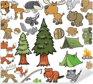 Pixerstick Aufkleber Im Freien Wildlife Camping Vector Design Set