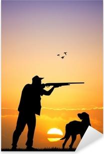 Pixerstick Aufkleber Jäger mit Hund bei Sonnenuntergangp