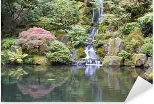 Pixerstick Aufkleber Japanischer Garten Koi Teich mit Wasserfallp