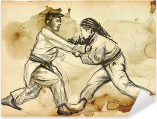 Pixerstick Aufkleber Judo - ein voller Größe Hand gezeichnete Illustration