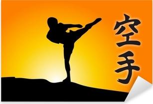 Pixerstick Aufkleber Karate-Kick und Sonnenaufgangp