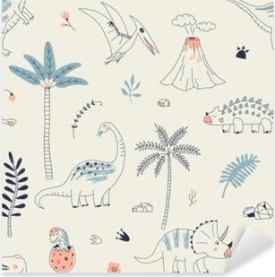 Pixerstick Aufkleber Kindisches nahtloses Muster mit Hand gezeichnetem Dino im skandinavischen Stil. kreativer vektorkinderähnlicher Hintergrund für Gewebe, Textil, Bekleidung und mehrp