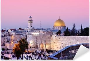 Pixerstick Aufkleber Klagemauer und Felsendom in Jerusalem, Israel