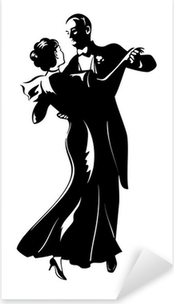 Pixerstick Aufkleber Klassische Tanz-Paar Silhouette isoliert