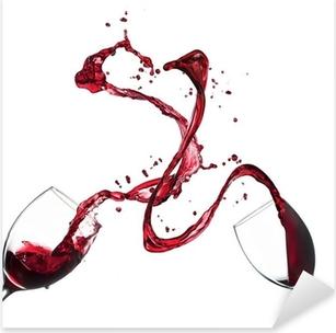 Pixerstick Aufkleber Konzept der Rotwein spritzt aus Gläsern auf weißem Hintergrundp