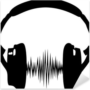 Pixerstick Aufkleber Kopfhörer Audio Welle Frequenz Musik Sillhouette