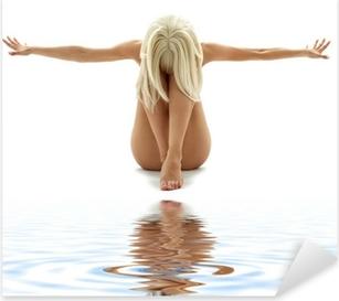 Pixerstick Aufkleber Künstlerische Nacktheit Stil Bild der Frau auf weißem Sandp