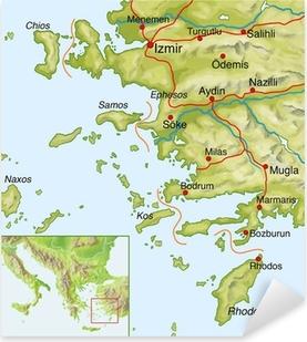 Pixerstick Aufkleber Landkarte von der Tuerkei, Westkuestep