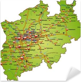 Pixerstick Aufkleber Landkarte von Nordrhein-Westfalen