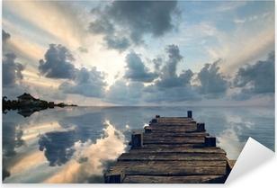 Pixerstick Aufkleber Landschaft mit einem alten Pier
