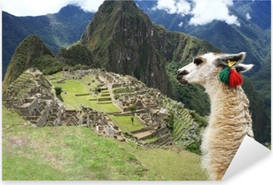 Pixerstick Aufkleber Llama at Lost City of Machu Picchu - Peru