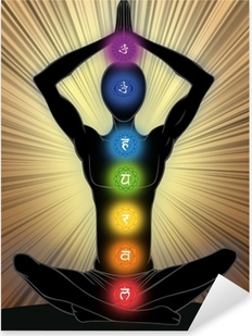 Pixerstick Aufkleber Man Silhouette in Yoga-Positionp